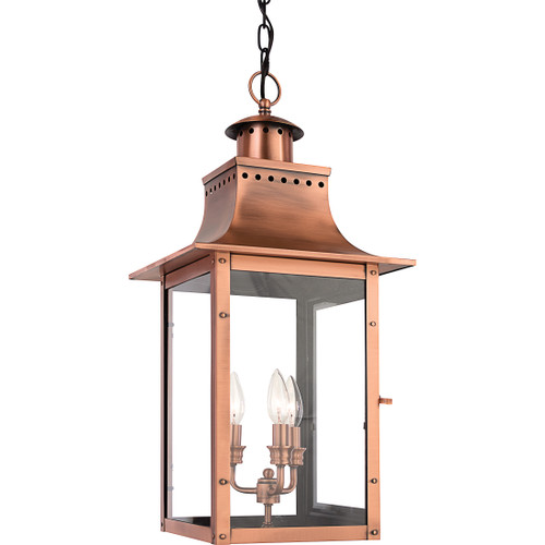 Quoizel 3 Light Chalmers Outdoor Lantern in Aged Copper Finish, CM1912AC