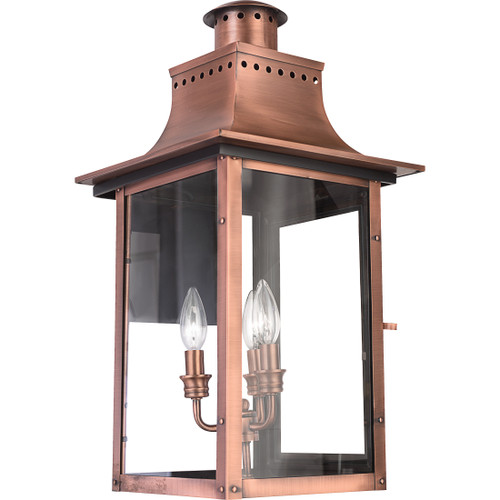 Quoizel 3 Light Chalmers Outdoor Lantern in Aged Copper Finish, CM8412AC