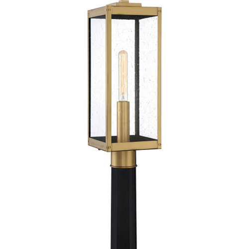 Quoizel 1 Light Westover Outdoor Lantern in Antique Brass Finish, WVR9007A