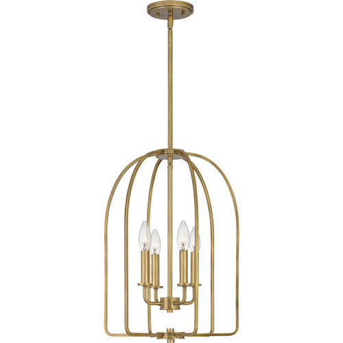 Quoizel 4 Light Cornell Pendant in Weathered Brass Finish, COL5214WS