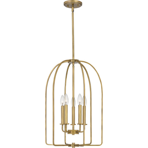 Quoizel 5 Light Cornell Pendant in Weathered Brass Finish, COL5216WS