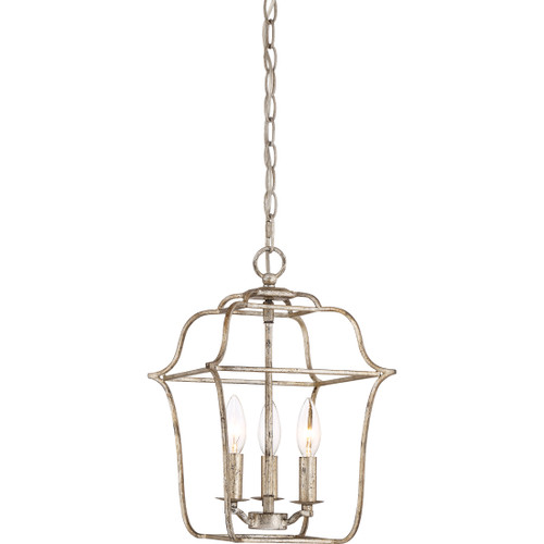 Quoizel 3 Light Gallery Pendant in Century Silver Leaf Finish, GLY5203CS