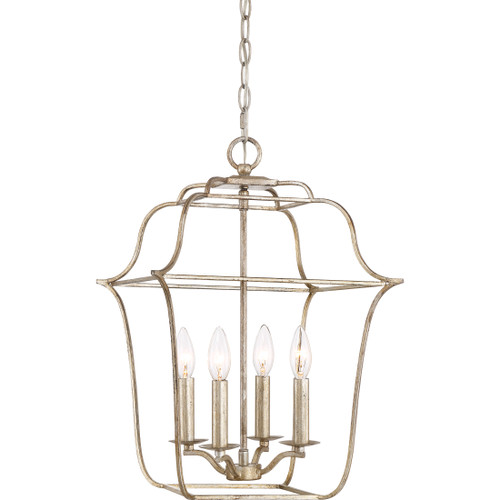 Quoizel 4 Light Gallery Pendant in Century Silver Leaf Finish, GLY5204CS