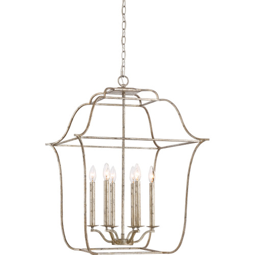 Quoizel 6 Light Gallery Pendant in Century Silver Leaf Finish, GLY5206CS