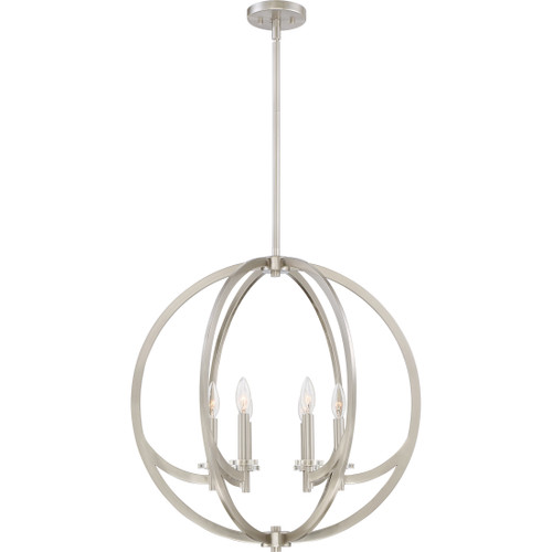 Quoizel 6 Light Orion Pendant in Brushed Nickel Finish, ON2824BN