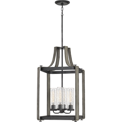 Quoizel 4 Light Rowling Pendant in Weathered White Maple Finish, QF5226WM