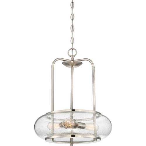 Quoizel 3 Light Trilogy Pendant in Brushed Nickel Finish, TRG1816BN