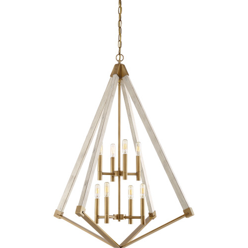 Quoizel 8 Light Viewpoint Pendant in Weathered Brass Finish, VP5208WS