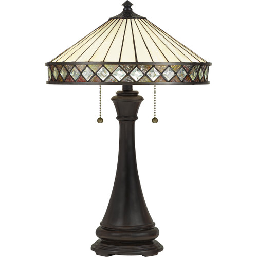 Quoizel 2 Light Bowing Table Lamp in Vintage Bronze Finish, TF5210TVB