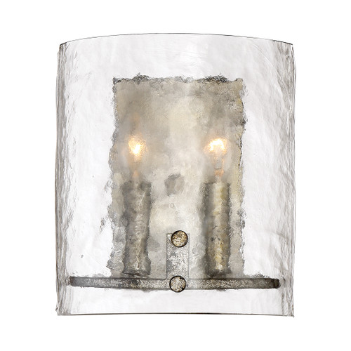 Quoizel 2 Light Fortress Wall Sconce in Mottled Silver Finish, FTS8802MM