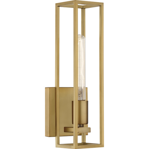 Quoizel 1 Light Leighton Wall Sconce in Weathered Brass Finish, LGN8605WS