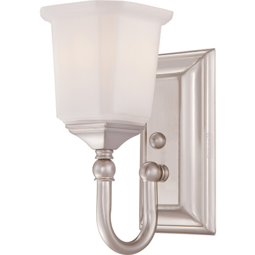 Quoizel 1 Light Nicholas Wall Sconce in Brushed Nickel Finish, NL8601BN