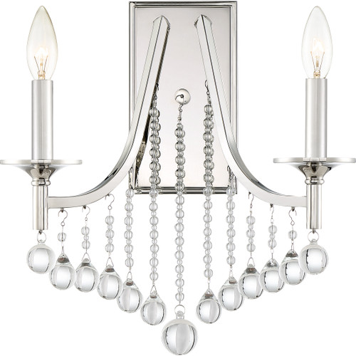 Quoizel Queenship Wall Sconce 2 Light, Polished Nickel