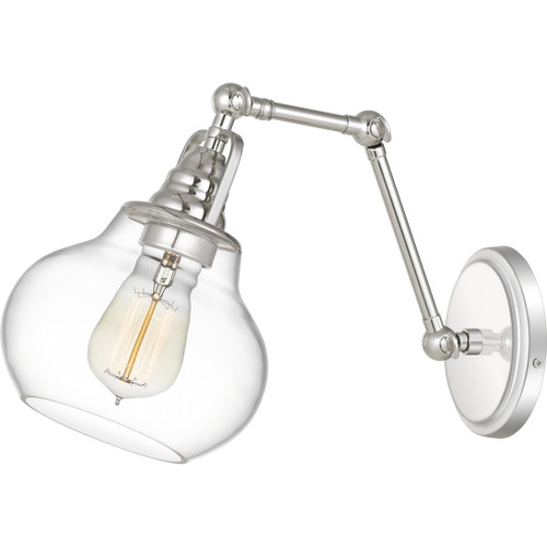 Quoizel Elmdale Wall Sconce 1 Light, Polished Nickel