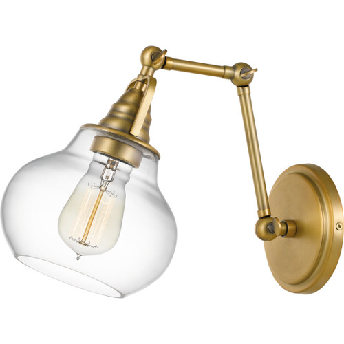 Quoizel 1 Light Elmdale Wall Sconce in Weathered Brass Finish, QW4070WS