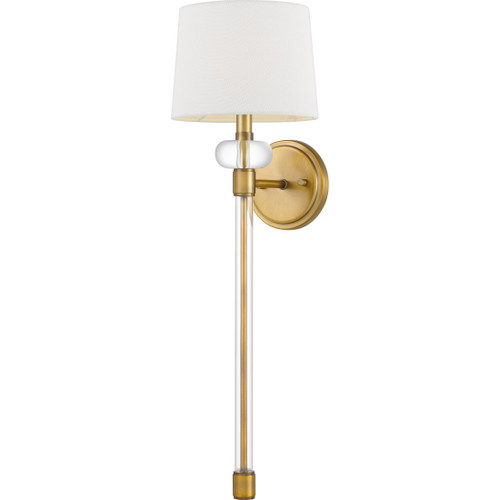 Quoizel 1 Light Barbour Wall Sconce in Weathered Brass Finish, QW4071WS