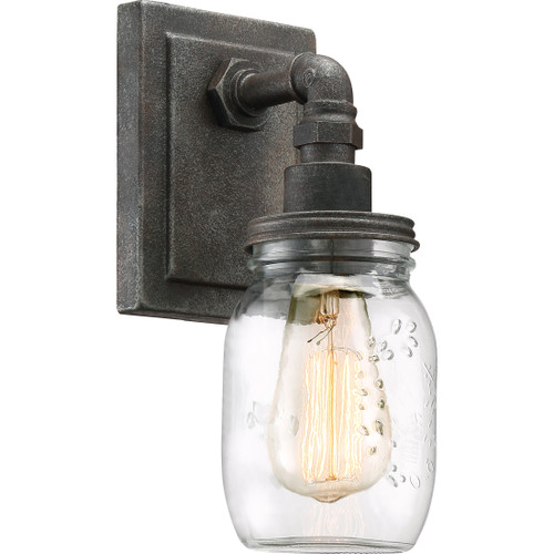 Quoizel 1 Light Squire Wall Sconce in Rustic Black Finish, SQR8701RK