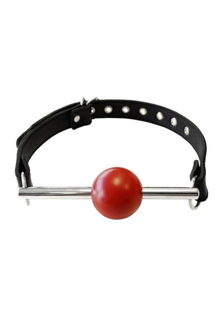 LEATHER BALL GAG WITH STAINLESS STEEL