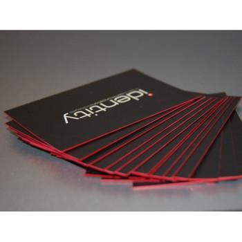Tarjeta de Presentacion Full Color 24Pts Laminado en Seda con Bordes Rojos