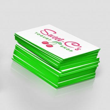 Tarjeta de Presentacion Full Color 24Pts Laminado en Seda con Bordes Verde Fluorescente.