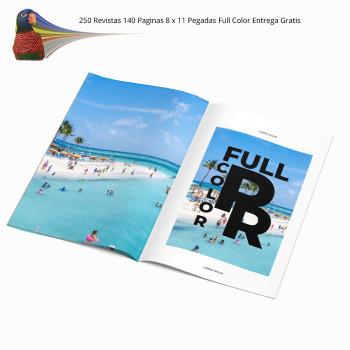 250 Revistas 140 Paginas 8 x 11 Pegadas  Full Color Entrega Gratis