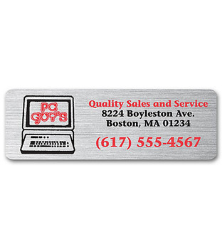 Brushed Chrome Polyester Label / Weatherproof Laminated Two Standard Color Imprint