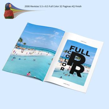 2000 Revistas 5.5 x 8.5  Full Color 32 Paginas AQ Finish