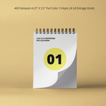 """400 Notepad 4.25"""" X 5.5"""" Full Color 5 Hojas 24 LB Entrega Gratis"""