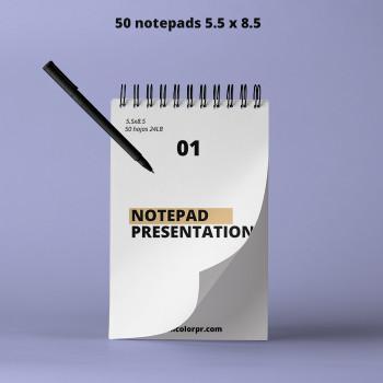 """50 Notepad 5.50"""" X 8.50"""" Full Color 50 Hojas 24 LB Entrega Gratis"""