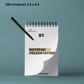 """500 Notepad 5.50"""" X 8.50"""" Full Color 50 Hojas 24 LB Entrega Gratis"""
