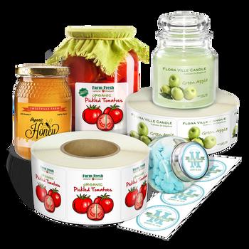 Ejemplos de labels para variedad de productos - Solicite un estimado Variedad de Formas , Medidas  y Materiales.  Estas imágenes son solo ejemplos de otras etiquetas que le podemos ofrecer .
