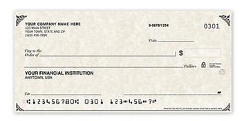 Cheques de negocio tamaño personal