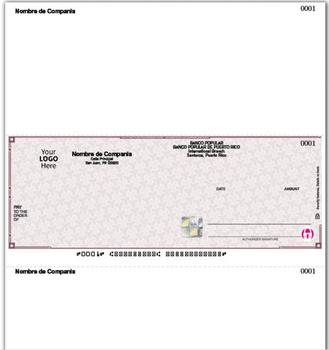 Ejemplo Cheque Laser de Alta Seguridad con Dos Lineas para Firma. Compatible con AccountMate, ACCPAC, BUSINESSWORKS, Great Plains Accounting Series, MAS90 & MAS200.