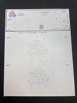 Ejemplo cheque laser  full color personalizado.