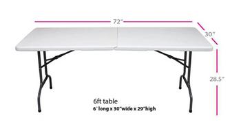 Medidas mesa de 6 Pies