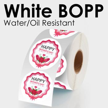 """Labels de 1.5"""" en Polipropileno ( BOPP)  Blanco con Adhesivo Permanente Impreso Full Color"""