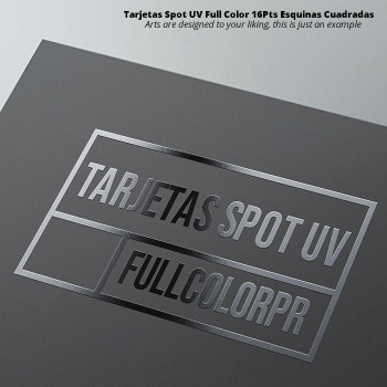 Tarjetas Spot UV Full Color 16Pts Esquinas Cuadradas Entrega Gratis todo Puerto RIco