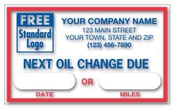 Service Sticker  Next Oil Change Due