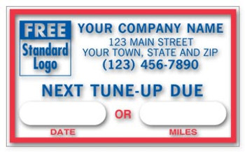 NEXT TUNE-UP DUE Service Sticker Static Cling