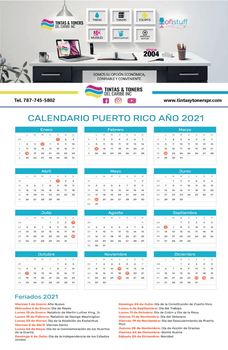 Calendario Full Color Entrega Gratis Puerto Rico | Full Color PR
