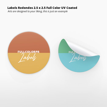 Labels Redondos  2.5 x 2.5 Full Color UV Coated Entrega Gratis todo Puerto Rico