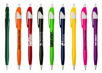 Bolígrafo Plastico Slim Push Button de Colores Variados con Barril y terminación en Blanco.