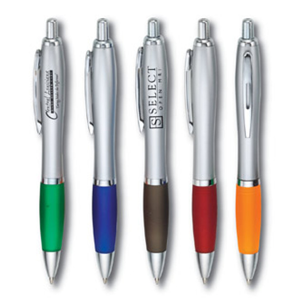 EleganteBoligrafo Plastico con trim en varios colores a escoger y barril color metalico.