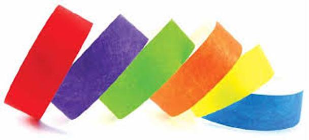 Ejemplo de pulseras de papel en varios colores