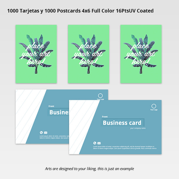 1000 Tarjetas y 1000 Postcards 4x6 Full Color 16PtsUV Coated Entrega Gratis todo Puerto Rico