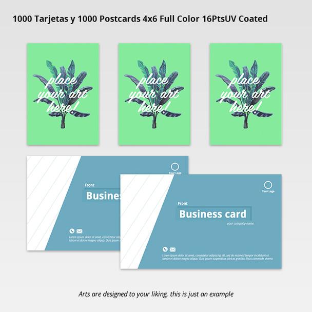 1000 Tarjetas y 1000 Postcards 4x6 Full Color 16PtsUV Coated Entrega Gratis todo Puerto Rico