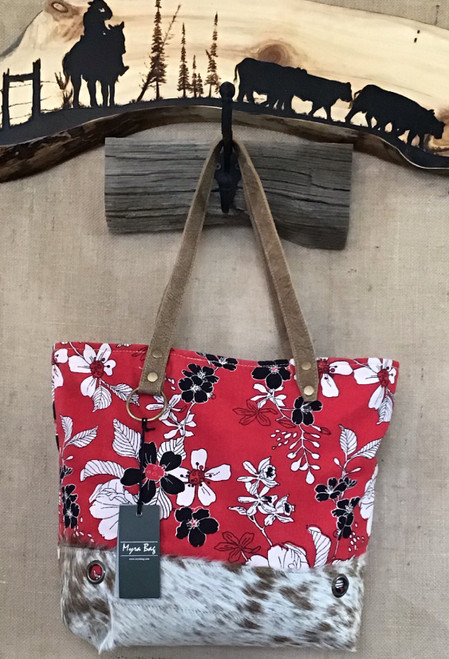 Red Canvas and Cowhide Tote