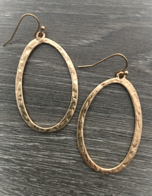 Gold Hammered Oval Hoops