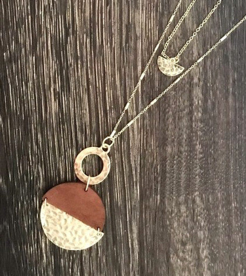 Layered Wooden Hinged Gold Hammered Necklace