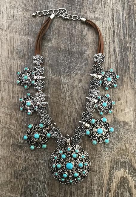 Stone Squash Blossom Necklace